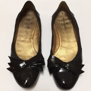 [kate spade] Black Patent Leather Ballet Flats - 8